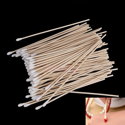 100Pcs Medical Swabs 6'' Long Wood Handle Sturdy Cotton Applicator Swab Q-tip a