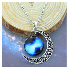 Gift For Teens Necklace Pendant Girl Jewelry Moon Charm Blue Galaxy With Chain