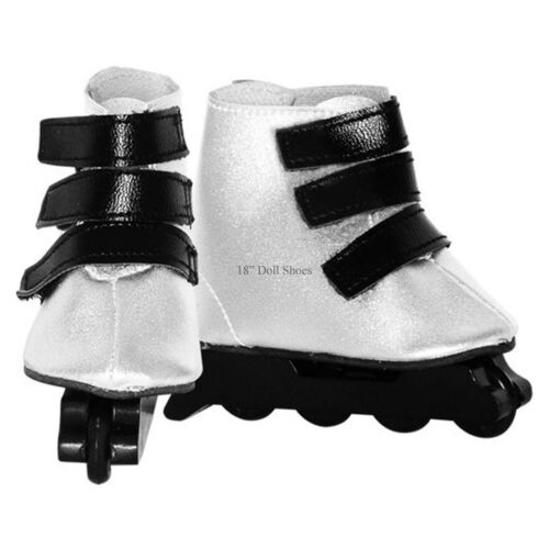 """In line Silver Skates with Straps fits Springfield Girl /& Similar 18/"""" Dolls"""