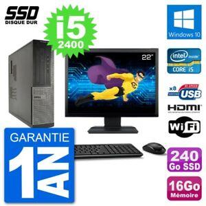 """PC DELL 3010 Dt Screen 22 """" i5-2400 RAM 16Go SSD 240Go HDMI Windows 10 Wifi"""