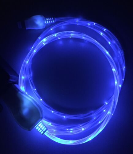 LED MICRO TYPE-C REVERSIBLE pin FLOWING LIGHT-UP 3FT flow glow USB charger cable