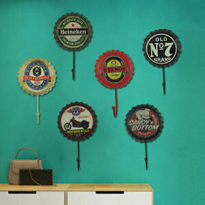 Retro-Metal-Bottle-Cap-Hook-Tin-Poster-Wall-Sign-Plaques-Club-Bar-Coffee-Decor