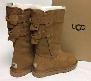 6e1b27320bd Details about Ugg Australia Allegra Bow Chestnut Boots 1092969 Women Suede  Sheepskin Shearling