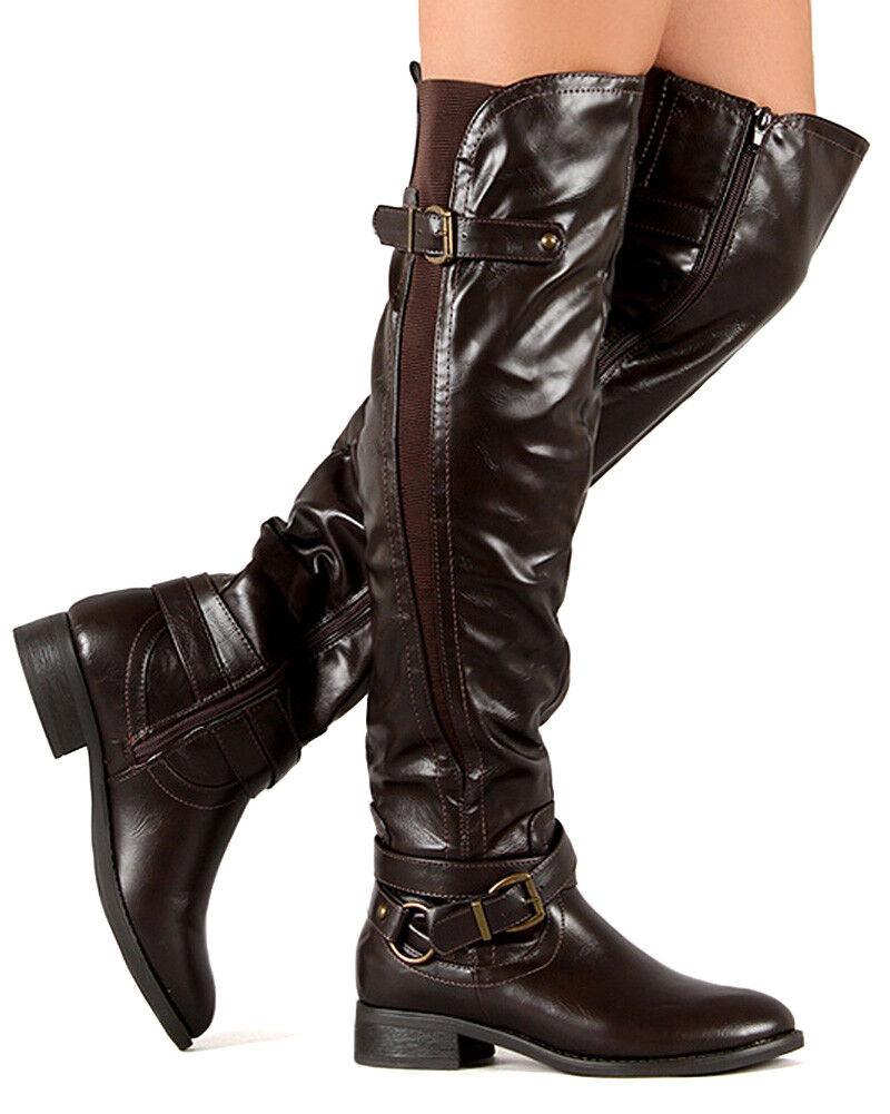 Nature Breeze Shelbi-01HI New Women PU Elastic Accent Thigh High Riding Boot Sz