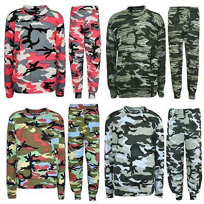 Kids Girls Lounge Suit Camouflage Jogsuit Top Bottom Loungewear Age 7-13 Years