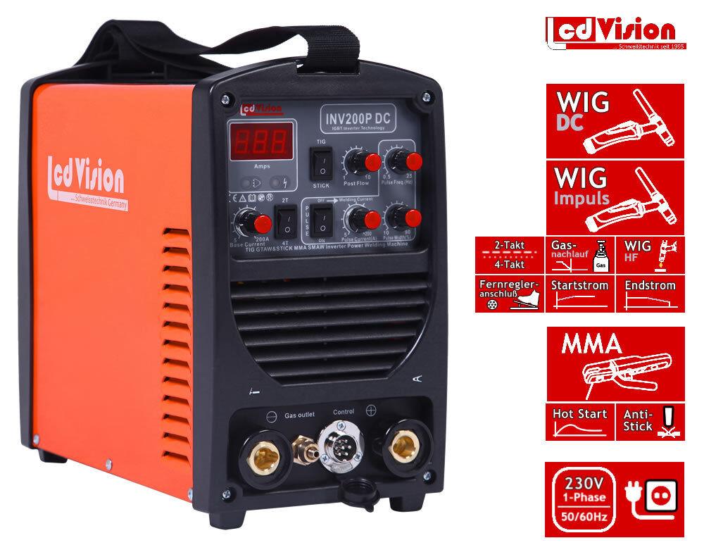 INV-200P Pulse Inverter Schweißgerät DC WIG TIG E-Hand MMA 5-200A 2/4-Takt 230V