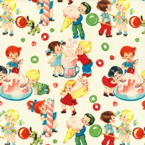 1m Candy Shop Michael Miller Fabric PER METRE cats cute retro kitsch 50s dess...
