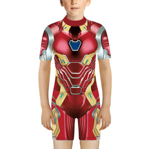 Girls Boys Kid Marvel Iron Man Swimsuit Suits Swimming Monokini Costume Swimwear