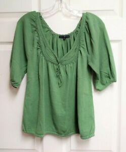 Gap-Women-039-s-Lime-Green-Short-Sleeve-V-Neck-Shirt-Top-Size-M-Crocheted-Collar