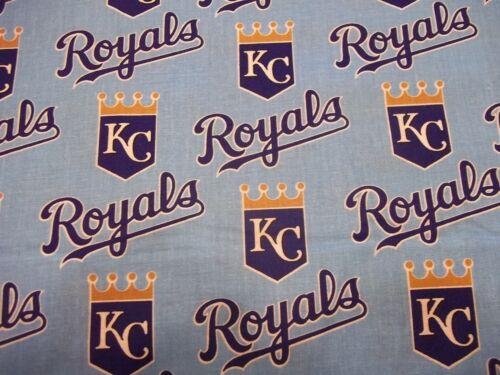 "KANSAS CITY ROYALS  MLB 100/% COTTON 1 YARD PIECE BRAND NEW DESIGN /""GO ROYALS/"""