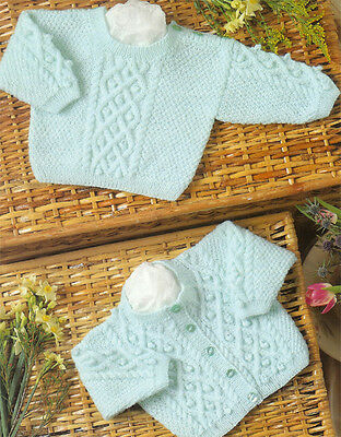 Knitting Pattern- 3ply cardigan & sweater pattern with cable & bobble design
