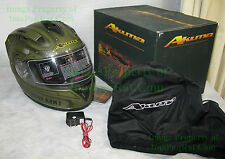 BRAND NEW AKUMA ☆ APACHE Motorcycle Helmet ☆ Large ☆ LED Lights ☆ US Army AH-64