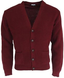 Relco Mens Burgundy Waffle Knitted Cardigan