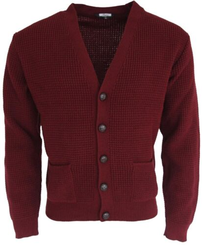 Mens Burgundy Waffle Knitted Cardigan Relco