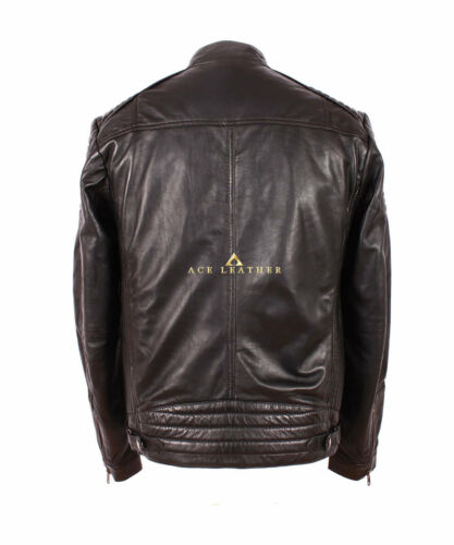 Biker Blouson d'agneau cuir Black stylé de Racer de hommes en style très souple Savage pour wSrE5w8q