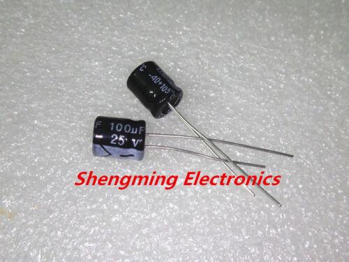 100pcs 100uF 25 V condensateur électrolytique 25V100UF 6x7mm