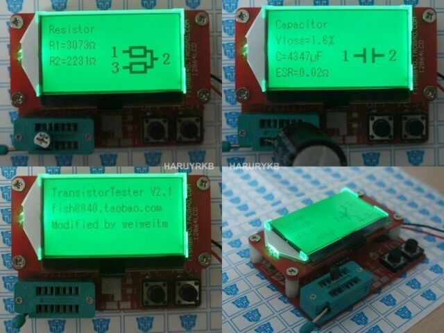 Small 12864 LCD Transistor Tester Capacitance ESR Meter Diode Triode MOS NPN LCR