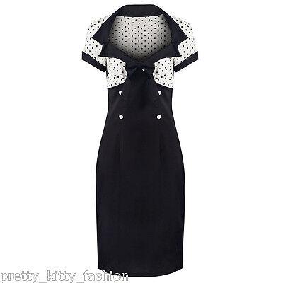 PRETTY KITTY ROCKABILLY 40s 50s WHITE BLACK POLKA DOT PENCIL WIGGLE DRESS 8-22