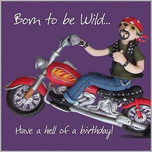 Souvent Mens Boys Fun Birthday Card, Harley Davidson Style Motorbike Born  HG43