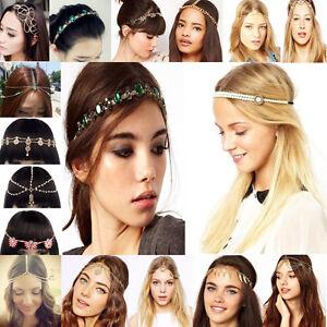 Serre-Tete-Bandeau-Fleur-Strass-Cristal-Bijoux-Elastique-Cheveux-Femmes-Headband