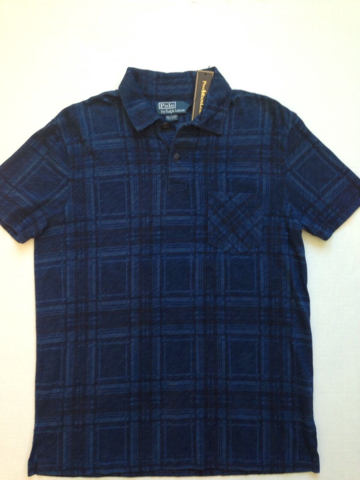 New  Ralph Lauren bluee Indigo Plaid Polo Shirt S Jersey Cotton light weight