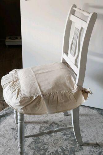 Stuhlkissen Sitzkissen Bezug  Landhaus Shabby Vintage Rüschenkissen Creme