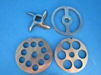 8 (4) Pc Meat Grinder Large Hole Set Plate Knife Blade Stainless Steel Lem Etc