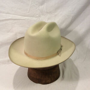 Vintage Light Blonde Stetson 3X Beaver Fedora Hat with Blonde Ribbon ... 3fad255f882d