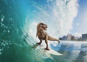 A1-High-Sea-Wave-Dinosaur-Surfing-Poster-Art-Print-60-x-90cm-180gsm-Gift-13154
