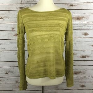 Eileen-Fisher-Women-039-s-Petite-Small-PP-Green-Open-Knit-Long-Sleeve-Top