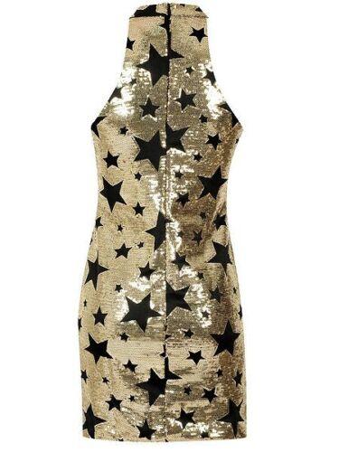 Glamorous Impreziosito con Lustrini Gold Star Halter Neck Mini Dress 16 18 Oro//Nero