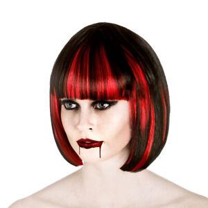 NEW Vampire Black Wig Short Bob Halloween Fancy Dress Costume Accessory