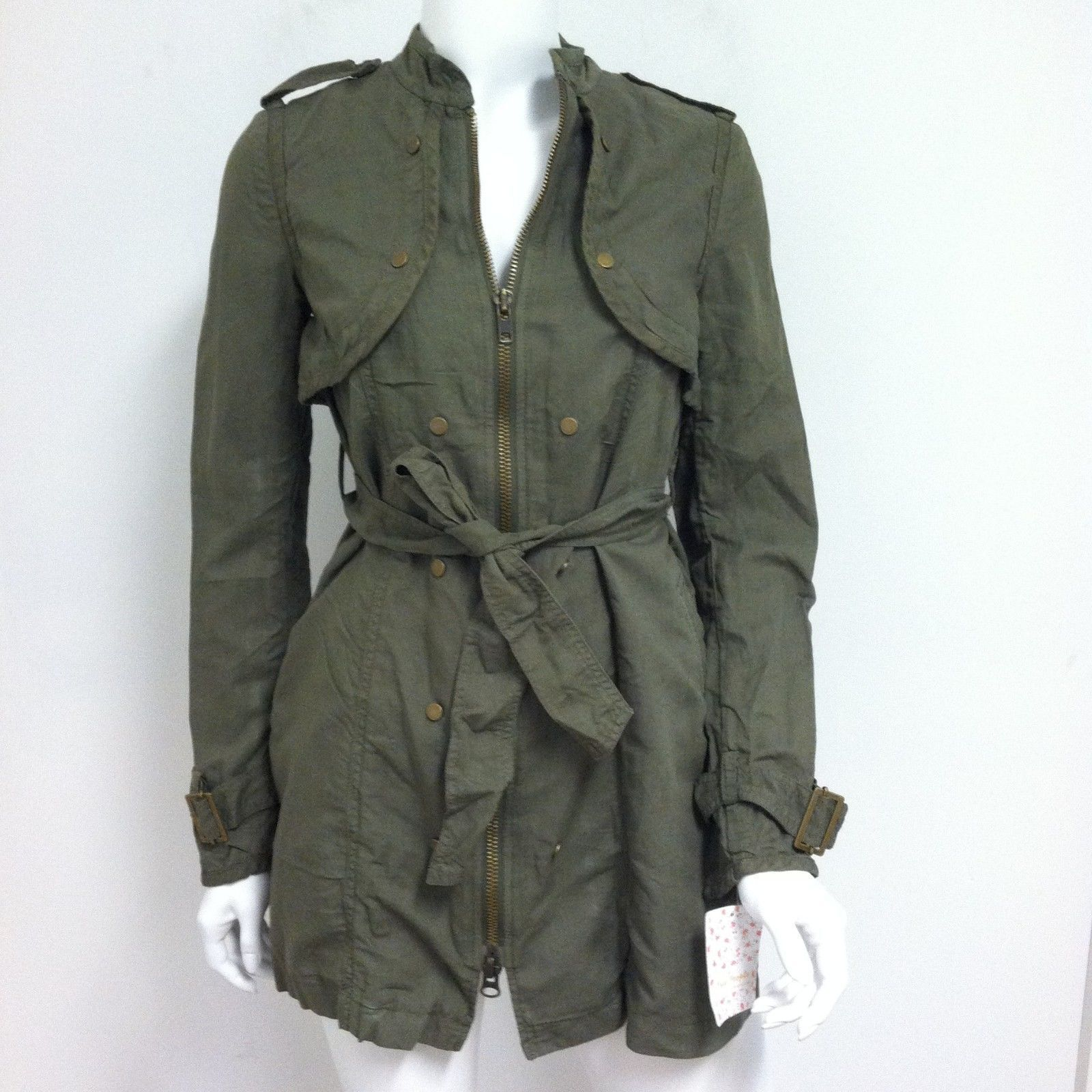 Free People Women S Military Jacket Long Belted Trench Coat Army Wash Size 0 For Sale Online