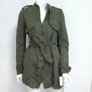 Free-People-Women-039-s-Military-Jacket-Long-Belted-Trench-Coat-Army-Wash-Size-0