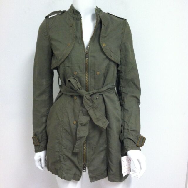 921b71e39 People Women's Military Jacket Long Belted Trench Coat Army Green Wash 0