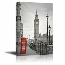 Wall26 - Pop of Color the Red Telephone Booth in London - Canvas Art - 16x24