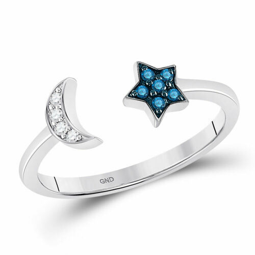 Sterling Silver Blue Color Enhanced Diamond Star Crescent Moon Bisected Ring