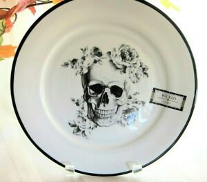 6x-Ciroa-Wicked-Black-Roses-Skull-Porcelain-DINNER-PLATES-Halloween-Dishes