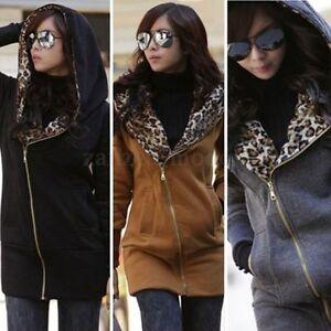 Size-8-26-Women-Leopard-Zipper-Hoodie-Long-Tops-Jacket-Coat-Sweatshirt-Jumper