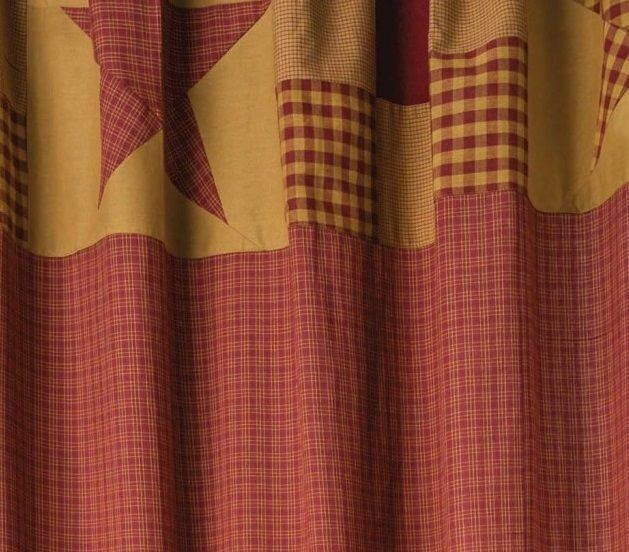 Country Patchwork Cotton Fabric Shower Curtain Burgundy Rot Tan Ninepatch Star 7ff0a3
