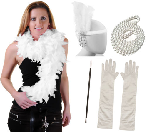 FLAPPER 5PC SET HEADBAND FEATHER BOA PEARL FANCY DRESS GATSBY CHARLESTON COSTUME