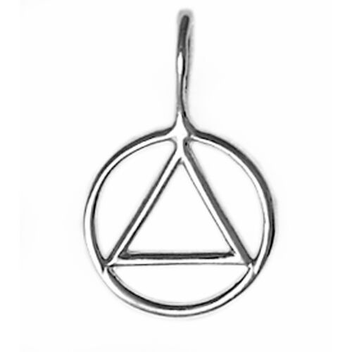 Sterling Silver Alcoholics Anonymous Simple Two-Sided Pendant #338 Small Size