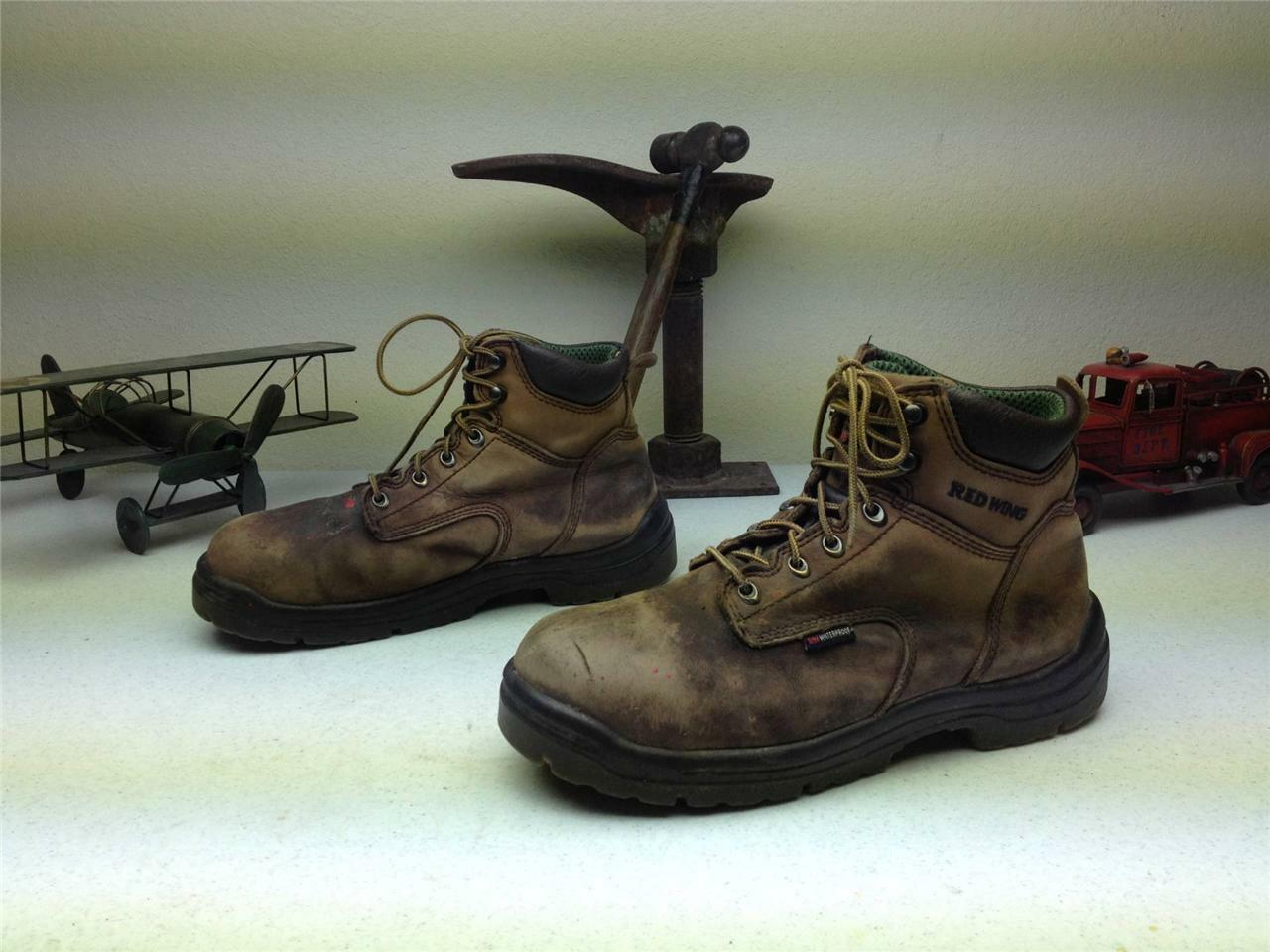 VINTAGE BROWN LEATHER RED UP WING KING TOE LACE UP RED FARM CHORE WORK BOOTS SIZE 9.5 M fea2b2