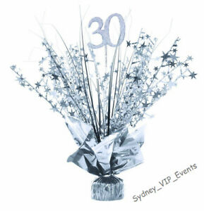 30TH BIRTHDAY PARTY SILVER SPRAY TABLE CENTREPIECE DECORATION  BALLOON WEIGHT