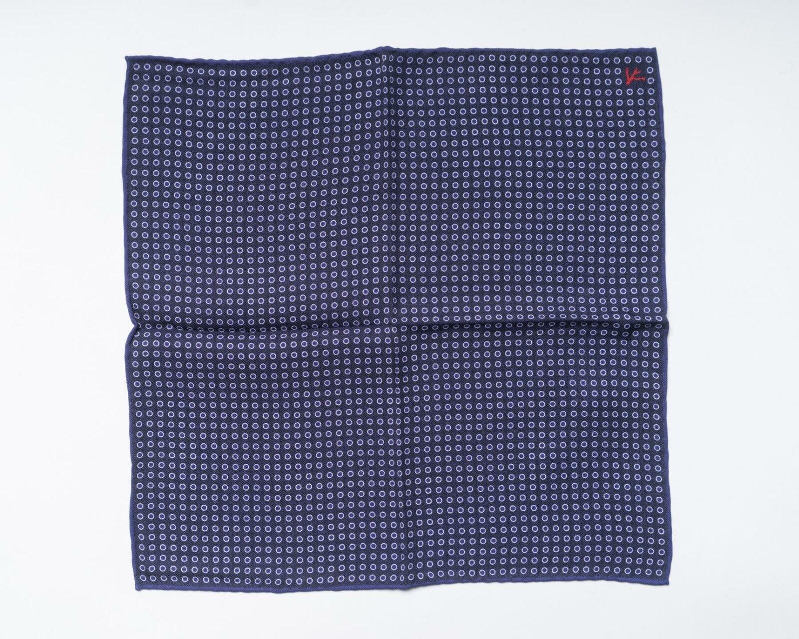 Isaia Púrpura Blanco Círculo Punto Doble Estampado Paisley Seda Bolsillo Square