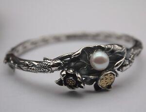 Pure-S925-Sterling-Silver-Bangle-Fish-Lotus-Leaf-Flower-Pearl-Bracelet-28-29g