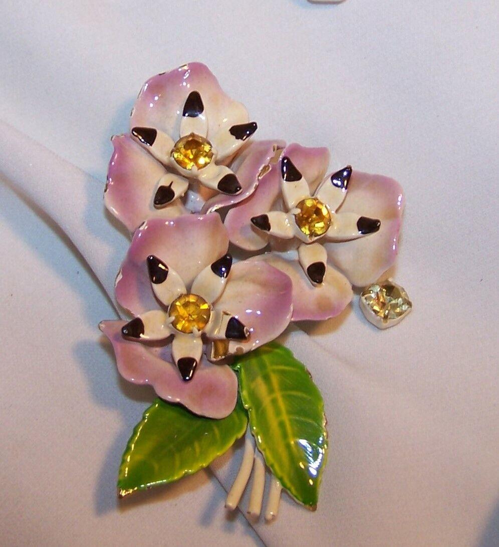 Vintage Enamel Rhinestone Flower Pin/Brooch-Pansy… - image 3