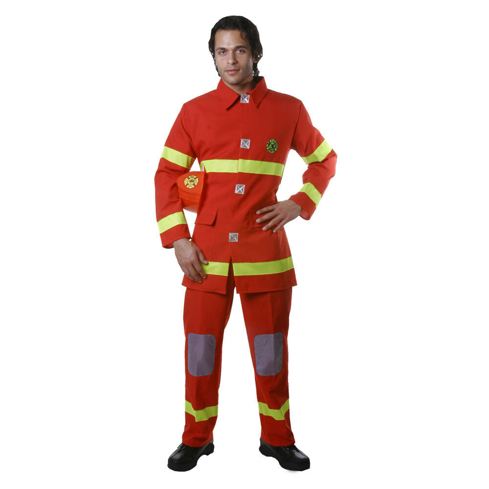 Dress Up America Adult Fire Fighter Red Costume Fancy Dress Set