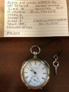 1881 Elgin National 15 Jewel Size 18s Key Wind Pocket Watch - Runs