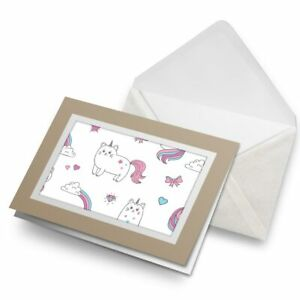 Greetings-Card-Biege-Awesome-Unicorn-Cat-Cartoon-Animal-8530